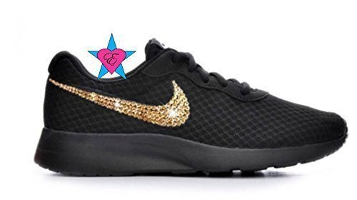 6cba62c6fd2 Amazon.com  Custom Black Sole Gold Crystal Sneakers Bling Tanjun  Handmade