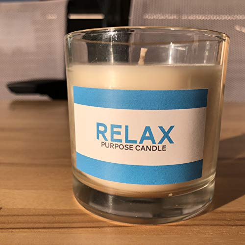 Purpose Candle | Relax | Stress Relief All Natural Aromatherapy Essential Oil and Soy Wax With Lavender, Frankincense, Rosemary, Bergamot, Patchouli, Marjoram, Meditation and Hempseed Oil, 8.5 oz