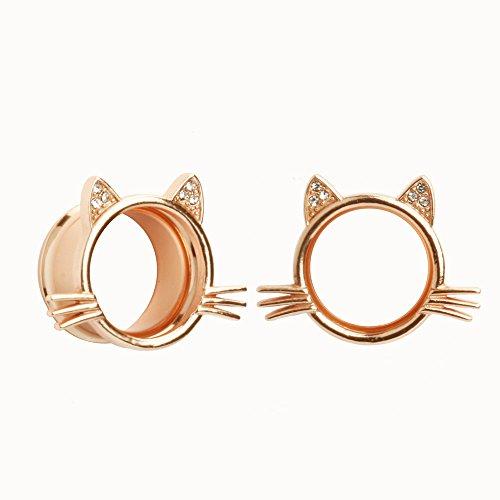 KUBOOZ(1 Pair Cute Rose-Gold Kitten Ear Plugs Tunnels Gauges Stretcher Piercings