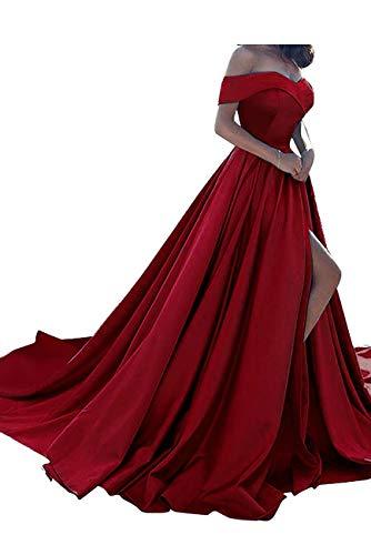 Homdor Split Off Shoulder Prom Evening Dress for Women A-Line Satin Formal Gown Dark Red Size 16