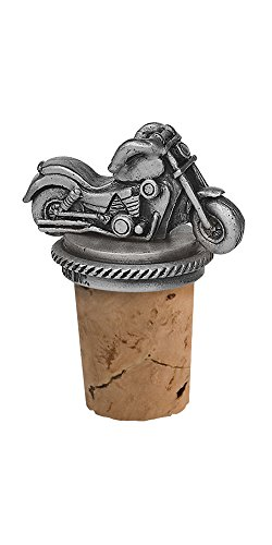 Epic Products Motorcycle Bottle Stopper, Pewter