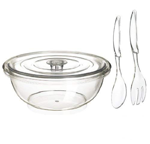 Felli- Crystal clear acrylic 14 inch covered salad bowl with severs.(set of 3/14 inch)(U432580)