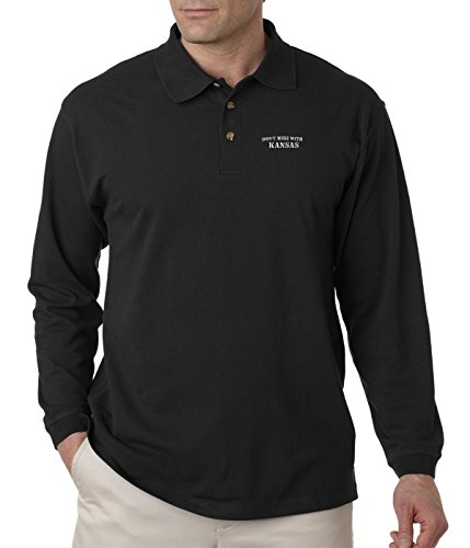Don't Mess with Kansas Embroidery Design Adult Button-End Spread Long Sleeve Unisex Cotton Polo Jersey Shirt Golf Shirt - Black, 3X Large