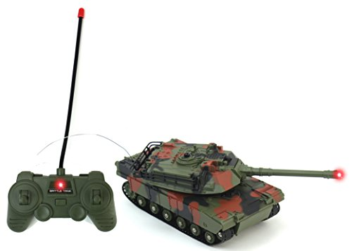 Battle Camo (Battery Operated Remote Controlled Infared Green Camo VS Battle RC Toy Tank w/ Realistic Sounds, Infrared Light, Remote Control, Rotating Cannon, Realistic Firing Action, & VS Interaction)