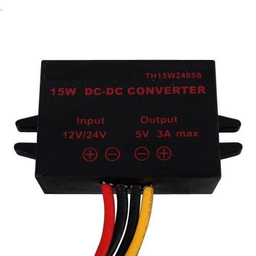 Magnolian DC 12V 24V to 5V 3A 15W Converter Step Down Voltage Regulator Power Supplies Transformer