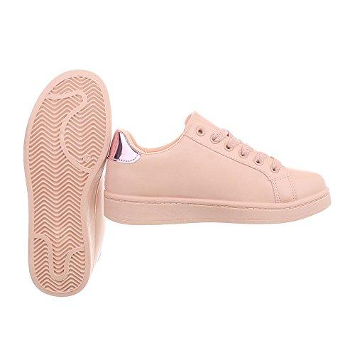 Ital-Design Sneakers Low Damenschuhe Schnürsenkel Freizeitschuhe Altrosa A-95-1