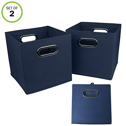 Evelots Navy Or Black Foldable Fabric Cube Storage Bins, Set of 2, Navy
