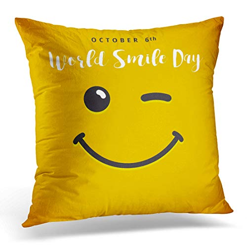 Throw Pillow Cover April Winking Smiley Lettering World Smil
