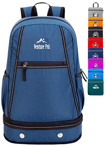 Venture Pal 35L Large Lightweight Packable Hiking Backpack with Wet Pocket & Shoes Compartment Travel Backpack & Day Backpack for Women Mens(Navy) (Best Day Backpack For Travel)