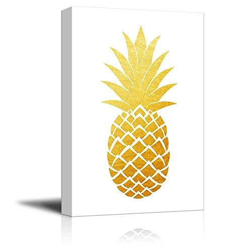 Gold Glitter Pineapple on White Background