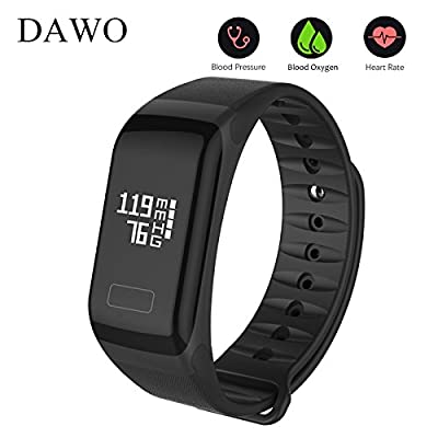 Fitness Tracker/Smart Bracelet, Dawo Smart Watch Waterproof Pedometer Activity Tracker with Sleep Monitor, Heart Rate Monitor, Blood Pressure/Oxygen Monitor Bluetooth 4.0 for IOS & Android