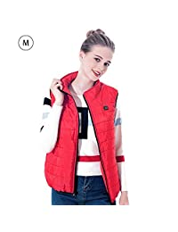 Electric Heated Vest,Single Control Single Open 5 Heating Zone Section Collar Warm Carbon Fiber Heating Down Vest,Multiple sizes,USB Charging Heated Polar Fleece Clothing Winter Warm Gilet,Black & Red