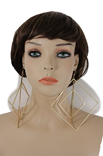 [TFJ Women Fashion Hook Earrings Big Long Gold Color Metal Large Urban Square Geometric Hip Hop] (Gangster Halloween Costumes 2016)