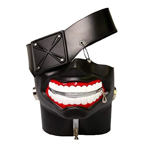 Rulercosplay Tokyo Ghoul Kaneki Ken 3D PU Leather Mask Cosplay Mask (Black 3D) -