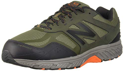 New Balance Men's 510v4 Cushioning Trail Running Shoe, Dark Covert Green/Phantom/Bengal Tiger, 10 XW US
