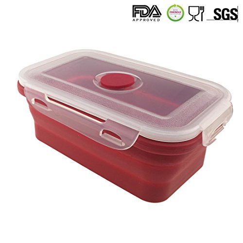 Portable Food Storage Silicone Folding Box with Plastic Lid 500ML Collapsible Lunch Box for Outdoor Camping Picnic (Red)