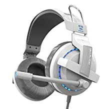GranVela® H937 Gaming Headset 3.5mm Stereo Headphones with Enhanced Bass, In-line Control, LED Lighting and Microphone for PC Computer Game -White