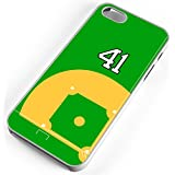 iPhone Case Fits iPhone 5c Baseball Diamond Pitchers Mound Home Plate Any Custom Jersey Number 41 White Rubber