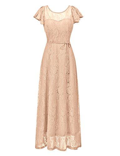 Lace Floral BeryLove Dress Dress Bridesmaid Women's Maxi Long Champagne Evening Party Wedding EqqxHrtv