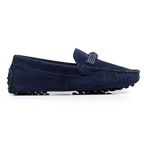 Rismart Unisexo Mujer Hombres Súper Comodidad Ante Auténtico Cuero Mocasines Zapatos Azul Marino1
