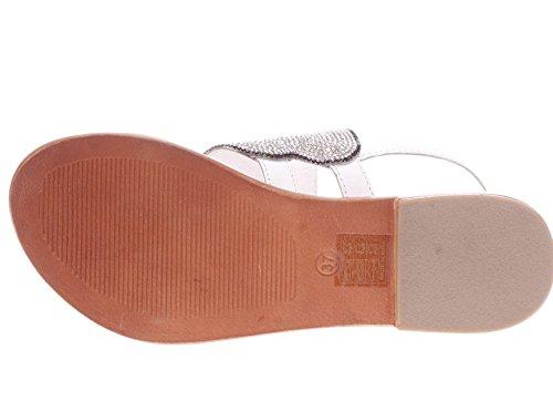 CAFèNOIR Cafè Noir KGB107 Belt Sandal with Elephant Accessory and Ankle Lace 203 Bianco OGJFL3Yv