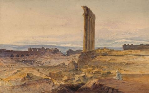 Edward Lear The Ruins At Baalbek 1860  Oil Painting  16X25 Inch   41X65 Cm  Printed On Perfect Effect Canvas  This Reproductions Art Decorative Prints On Canvas Is Perfectly Suitalbe For Bedroom Decoration And Home Decoration And Gifts