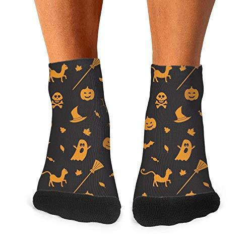 Landsr Men's Casual Halloween pumpkin spider owl ghost black Athletic Novelty Ankle Crew -