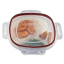 Rubbermaid 7K9700CIRED Lock-its 5-1/4-Cup Divided Food-Storage Container with Lid
