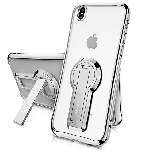 iPhone X/XS Case, Vivafree [Skyfall Series] Premium Kickstand Transparent Slim Fit Clear Full Protection Cover Case Kick Stand [Wireless Charging] for Apple - Silver