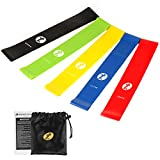 Etoplus Resistance Bands - Set of 5 Exercise Bands, Resistance Loops Workout Bands for Physical Therapy, Legs, Butt, Home Fitness, Yoga, Stretching with Instruction Manual & Carry Bag (5 Colors)