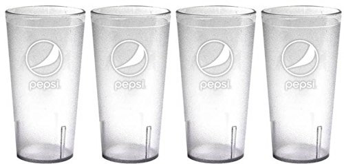 (Clear Pepsi Globe Logo Plastic Tumblers Set of 4-16oz - BPA Free - Carlisle Quality Tumblers)