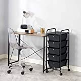 Urban Shop 5 Drawer Rolling Storage Cart, Black