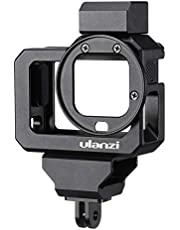 Ulanzi G8-5 Aluminum Video Cage for GoProcamera 8, Dual Cold Shoe Mount Vlog Case Housing Shell Protective Frame Mount w 52mm Filter Adapter Charging Interface for GoProcamera Hero 8 Black
