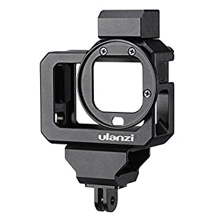 ULANZI G8-5 Housing Cage for Gopro Hero 8 Black, 2 Cold Shoe Mount Mic Light Stand Housing Case for Gopro Microphone Adapter Vlog Accessory Compatible with Tripod Selfie Stick
