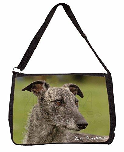 Lurcher Dog Love You Mum Large 16 Black School Laptop Shoulder Bag