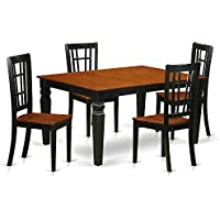 East West Furniture Weston WENI5-BCH-W 5 Pc Dining Set with a Dinning Table and 4 Wood Kitchen Chairs, Black