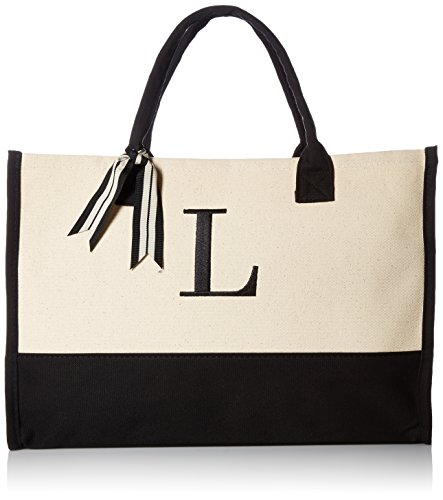 Mud Pie L-Initial Canvas Tote
