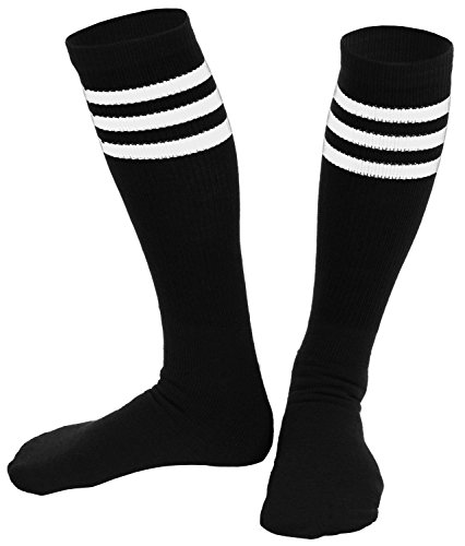 High Rollers Costumes (Knee High Socks  Three Stripe Socks  Socks for Costumes  and Cosplay Made in USA, Black / White, One size)