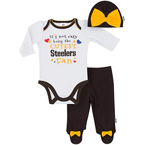 NFL Pittsburgh Steelers Baby-Girls Bodysuit, Pant, Cap Set, Black, 3-6 Months (Pittsburgh Steelers Outfit)
