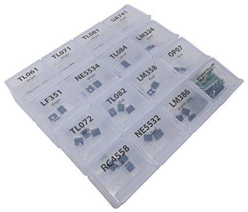 SMD Opamp Assortment 45 pcs, SOP, SOP-8, TL061, TL07, TL081, UA741, LF351,  NE5534, TL08, LM324, TL072, TL082, LM358, OP07, RC4558, NE5532, LM386