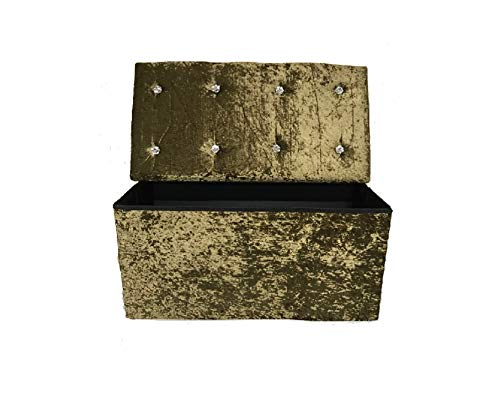 Crushed Velvet Diamante Storage Ottoman Seat Box Pouffe Foot Stool Bench (Black) H&S