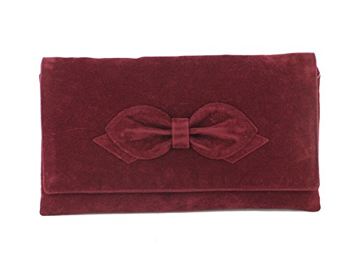 LONI Women's synthetic Suede Bow Clutch Bag Prom Medium Claret Burgundy Wine Red