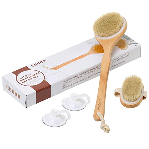 COOBA Dry Body Brushing Bath Brush Set, 100% Natural Bristles, Remove Dead Skin and Open Up Clogged Pores, Improve Blood Circulation, Cellulite Treatment, Exfoliate, Good for Health and Beauty