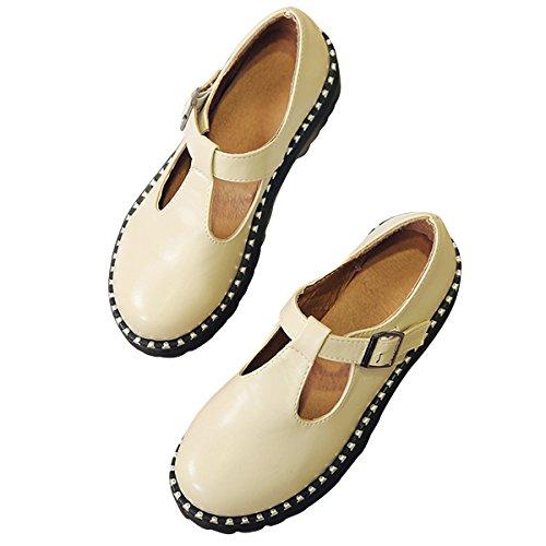 Caro Tempo Womens T-strap Oxford Fibbia Mary Jane Piattaforma Scarpe Brogue Beige
