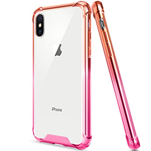Salawat for iPhone Xs Max Case, Clear iPhone Xs Max Case Cute Shock Absorption TPU Bumper Phone Case Cover Slim Anti Scratch Hard PC Back Hybrid Protective Case for iPhone Xs Max 6.5inch 2018 (Red)