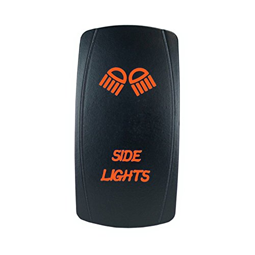 (QUNQI STAR 5 pin Laser Backlit Rocker Switch SIDE LIGHTS 20A 12V On/off LED Light Toggle Switch (Orange) )