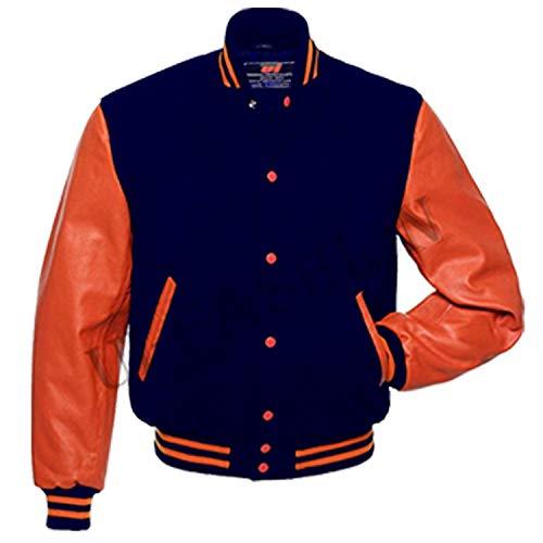 UI-Fashion Letterman Baseball University Varsity Jacket Navy Blue Wool & Orange Genuine Leather Sleeves (Navy Blue/Orange, L)