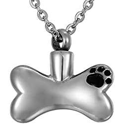 Valyria Memorial Jewelry Urn Dog Paw Print Bones Pendant Cremation Necklace with Engraving