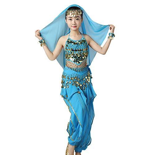 Jiyaru 1 Set Children Dance Costume Belly Sequins Tops with Bracelet Lake Blue Asian -