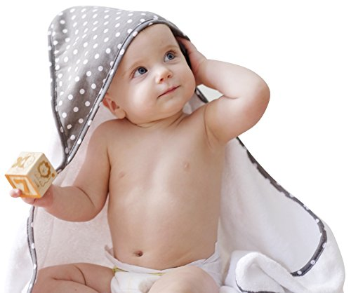 Premium Bamboo Hooded Baby Towel, Extra Soft and Large 35x35, Hypoallergenic, Sized for Toddler, Boys, Girls, Grey Polka (Polka Dot Hooded Towel)